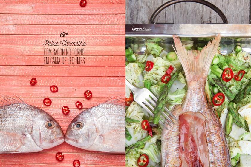 Peixe Vermelho com Bacon no forno em cama de Legumes Saliva.pt