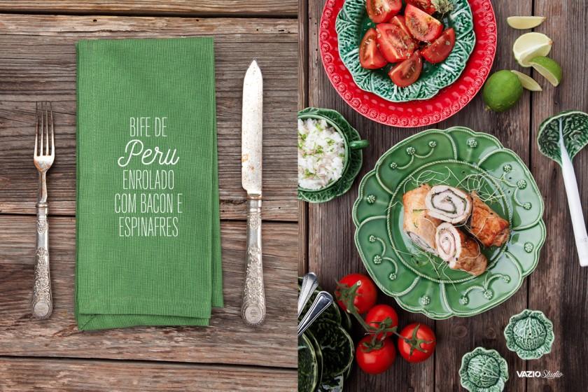Bife de Peru enrolado em Bacon e Espinafres Saliva.pt
