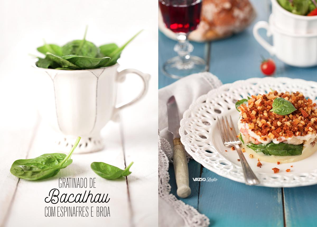 Gratinado de Bacalhau com Espinafres e Broa Saliva.pt