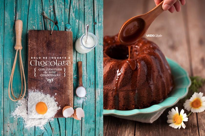 Bolo de Iogurte e Chocolate com cobertura de Leite Condensado