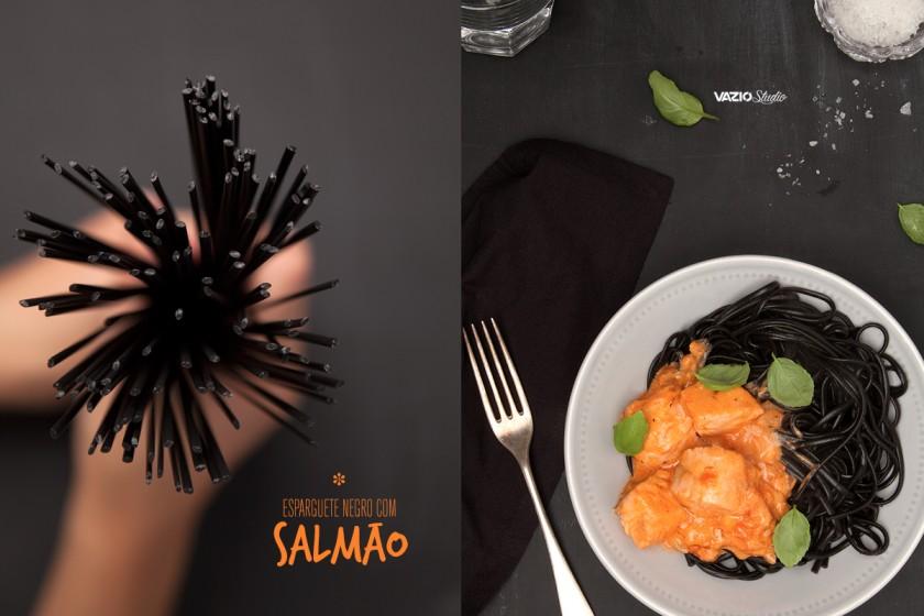 Esparguete Negro com Salmão Saliva.pt