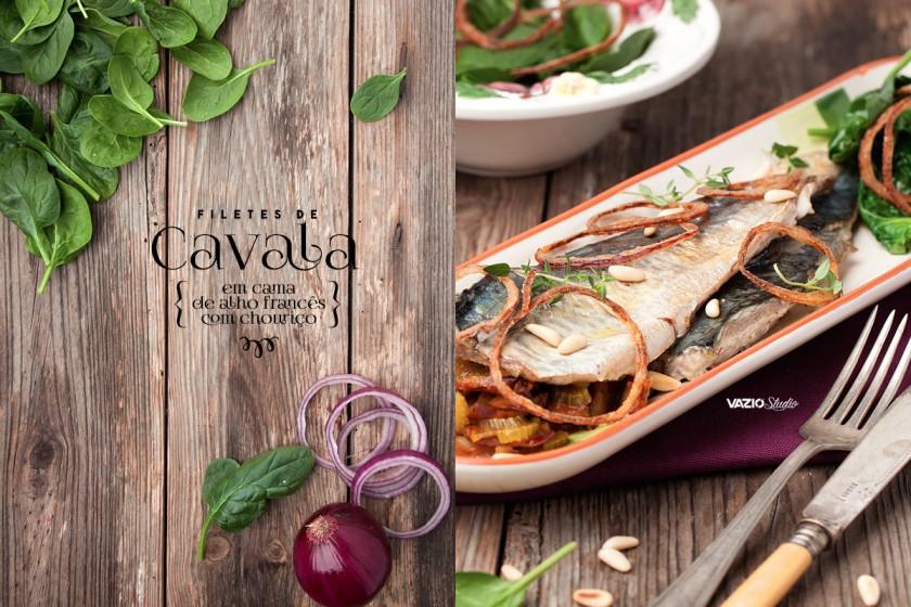 Filetes de Cavala em cama de alho francês e chouriço Saliva.pt