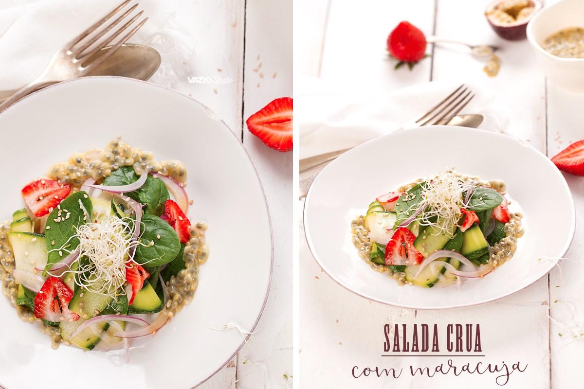 Salada Crua com molho de  Maracuja